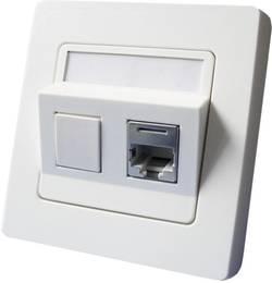 Prise réseau encastrable insert avec plaque centrale et châssis CAT 6 2 ports Setec 604659 blanc pur