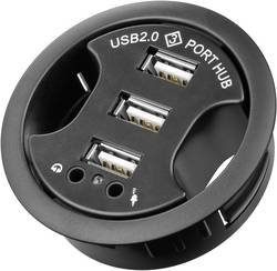 Hub à encastrer 3 ports USB 2.0 + connecteurs femelles audio