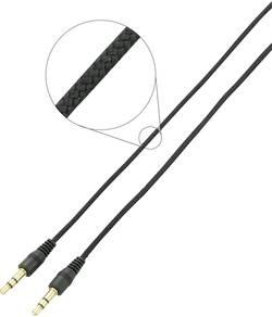 Câble audio SpeaKa Professional SP-3946572 [1x Jack mâle 3.5 mm - 1x Jack mâle 3.5 mm] 1 m noir contacts dorés, cordon d