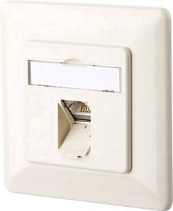 Prise réseau encastrable insert avec plaque centrale et châssis CAT 6 1 port Metz Connect 1307371001-I blanc nacré