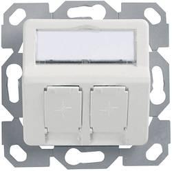 Prise réseau encastrable insert avec plaque centrale non équipé 2 ports Telegärtner H02010A0083 blanc-alpin