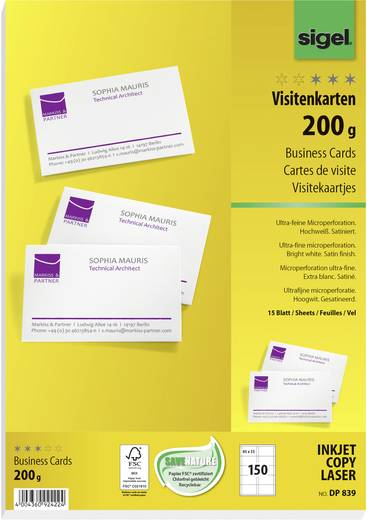 Cartes De Visite Imprimables Microperfores Sigel DP839 85 X 55 Mm 200 G M Blanc Profond