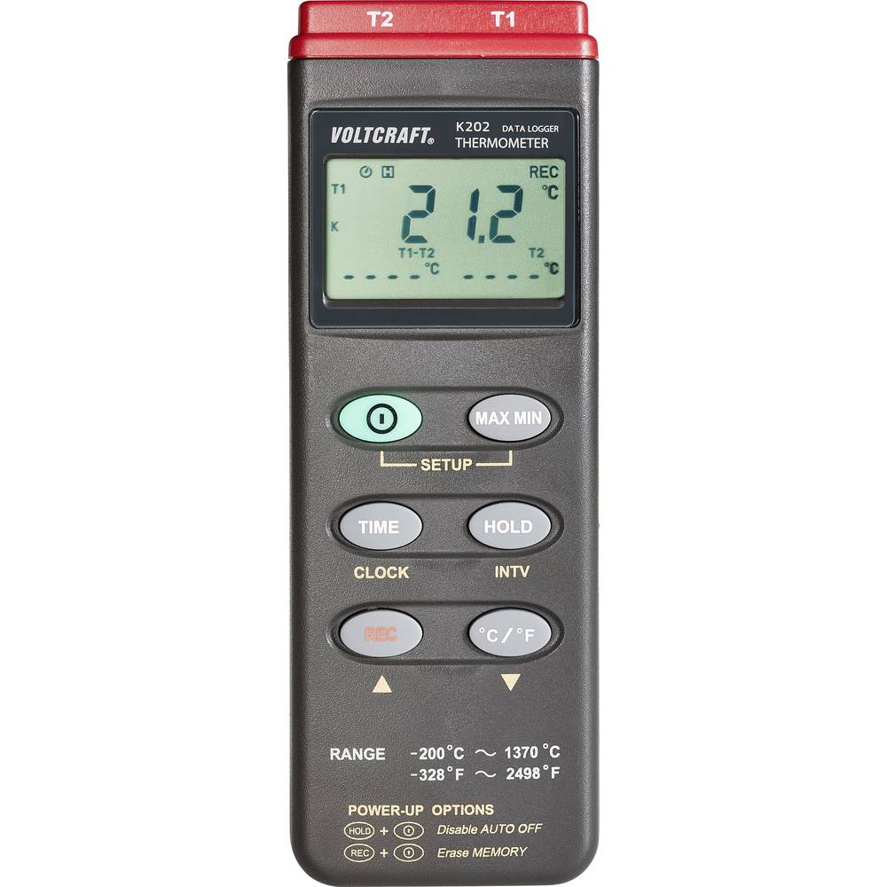 Merilnik temperature VOLTCRAFT K202 -200 do +1370 °C tip senzorja K s funkcijo zapisovanja podatkov kalibriran po: ISO
