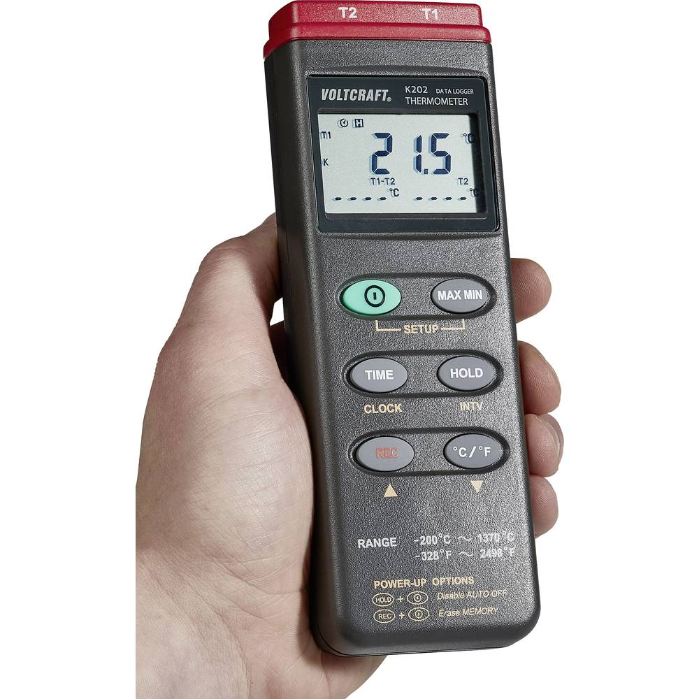 Merilnik temperature VOLTCRAFT K202 -200 do +1370 °C tip senzorja K s funkcijo zapisovanja podatkov
