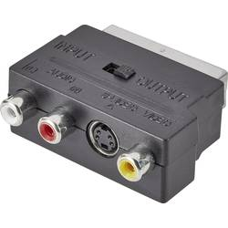 SCART/činč/S-Video adapter SpeaKa Professional [1x SCART-vtič   3x činč-vtičnica, S-Video-vtičnica] črn s stikalom