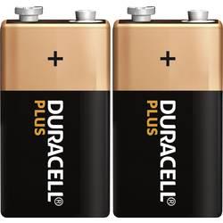9 V block baterija Duracell Plus, alkalna, 2 komada, 6LR61, 6LR21, 6AM6, 6LP3146, MN1604, 5 DUR019287