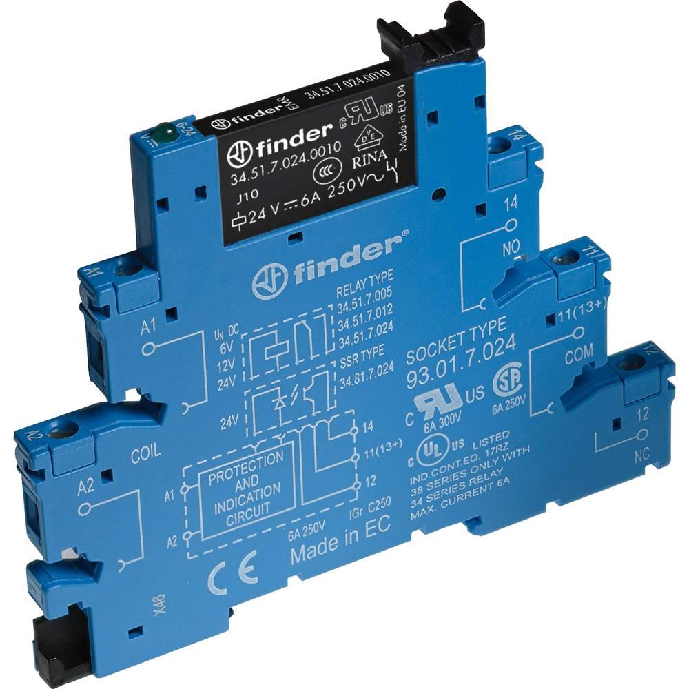 relejni modul 10 St. Finder 38.51.0.012.0060 Nazivni napon: 12 V/DC, 12 V/AC Prebacivanje struje (maks.): 6 A 1 prebacivanje