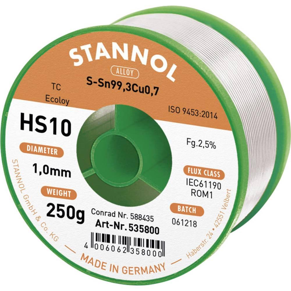 Neosvinčena žica za spajkanje Stannol HS10 2510 Sn99Cu1 250 g 1.0 mm
