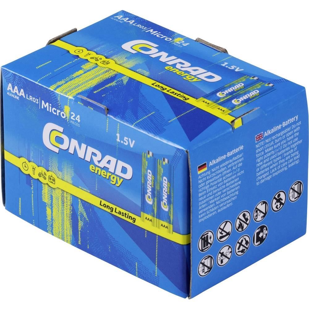 Micro baterija (AAA) alkalno-manganova Conrad energy LR03 1.5 V 24 kosov