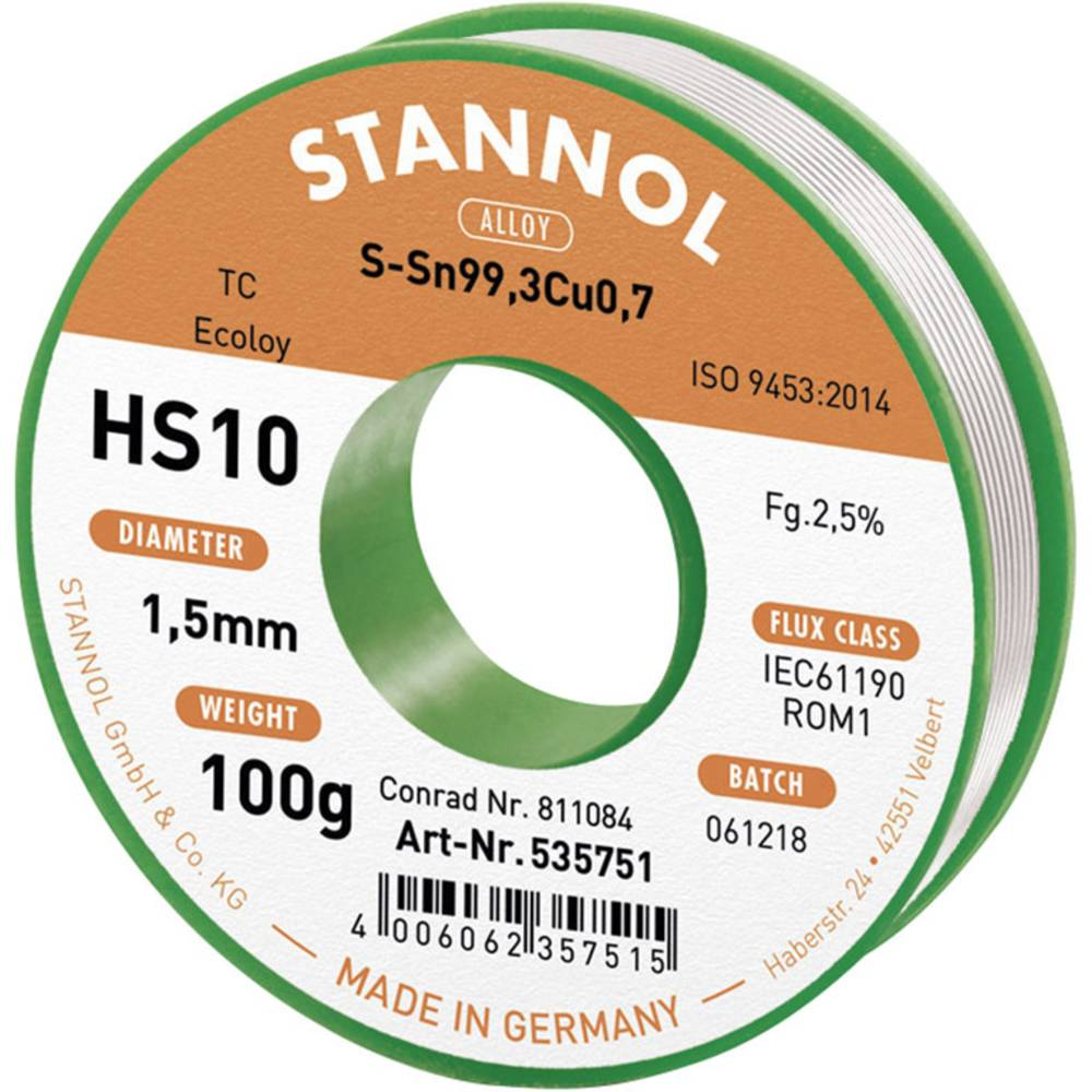 Bezolovna lemna žica HS10 2510Sn99Cu1 100G, 535751 Stannol
