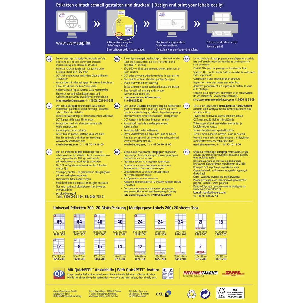 Avery-Zweckform univerzalne etikete 3652-200 ( 70 mm x 42.3 mm ),bele, 4200 kosov, trajno lepljive