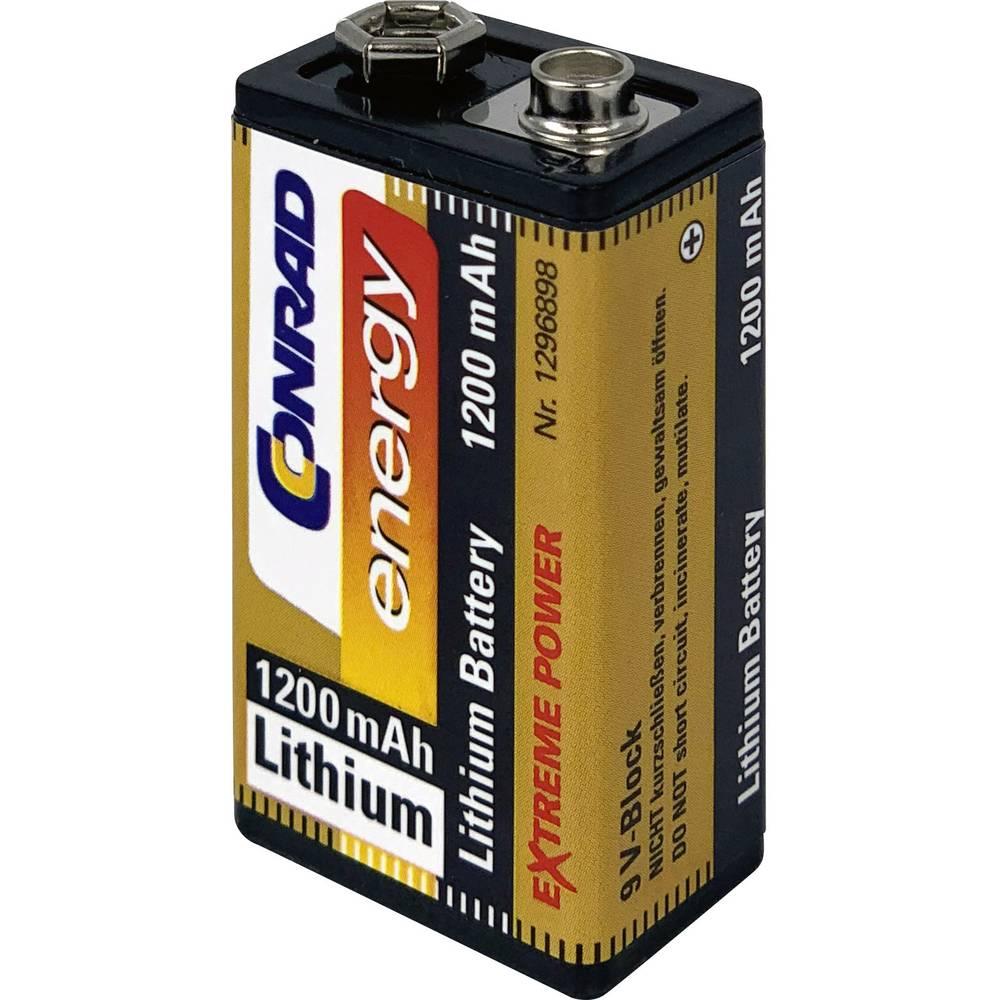 9 V Block baterija, litijeva Conrad energy Extreme Power 6LR61 1200 mAh 9 V 1 kos