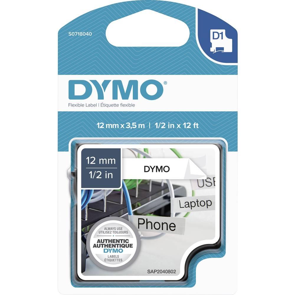 Označilni trak DYMO S0718040 iz poliamida, barva traku: bele barve, barva pisave: črne barve 12 mm 3.5 m