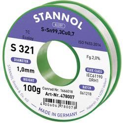 Stannol S321 2,0% 1,0MM SN99,3CU0,7CD 100G spajkalna žica, neosvinčena neosvinčeni, tuljava Sn99.3Cu0.7 100 g 1 mm