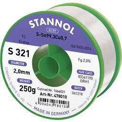 Stannol S321 2,0% 2,0MM SN99,3CU0,7 CD 250G Spajkalna žica, neosvinčena Neosvinčeni, Tuljava Sn99.3Cu0.7 250 g 2 mm