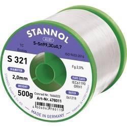Stannol S321 2,0% 2,0MM SN99,3CU0,7CD 500G Spajkalna žica, neosvinčena Neosvinčeni, Tuljava Sn99.3Cu0.7 500 g 2 mm