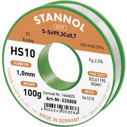Stannol HS10 2,5% 1,0MM SN99,3CU0,7 CD 100G Spajkalna žica, neosvinčena Neosvinčeni, Tuljava Sn99.3Cu0.7 100 g 1 mm