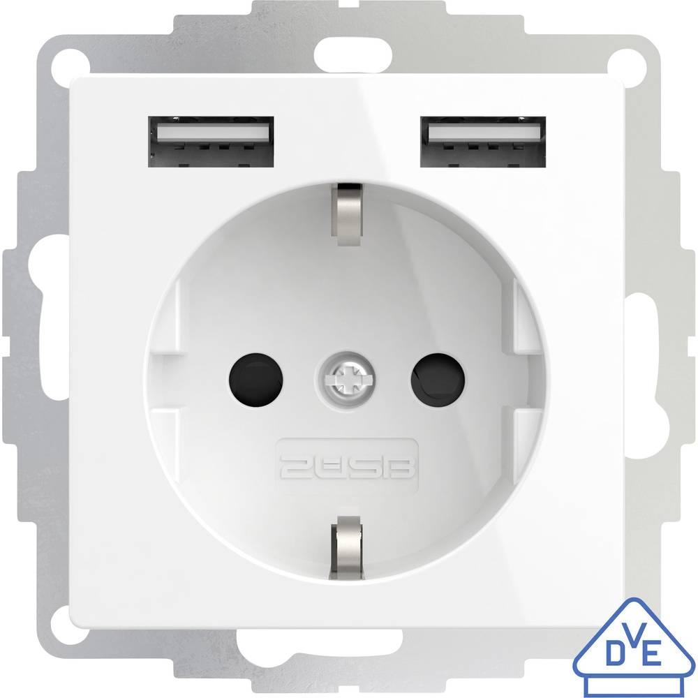 2USB 2U-449276 podometna vtičnica vde, z USB, otroška zaščita ip20 čista bela, sijaj učinek