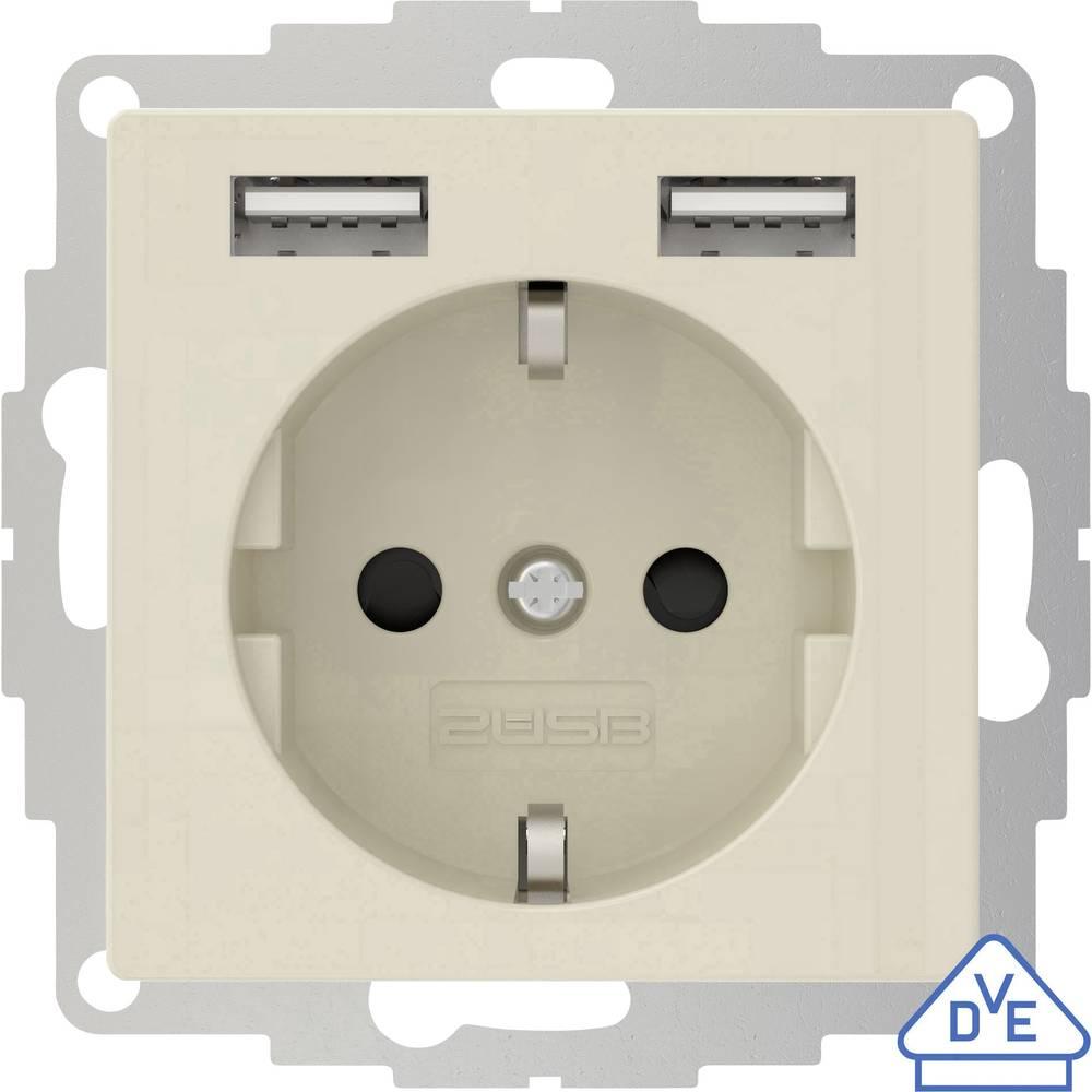 2USB 2U-449290 podometna vtičnica vde, z USB, otroška zaščita ip20 kremno bela, sijaj učinek