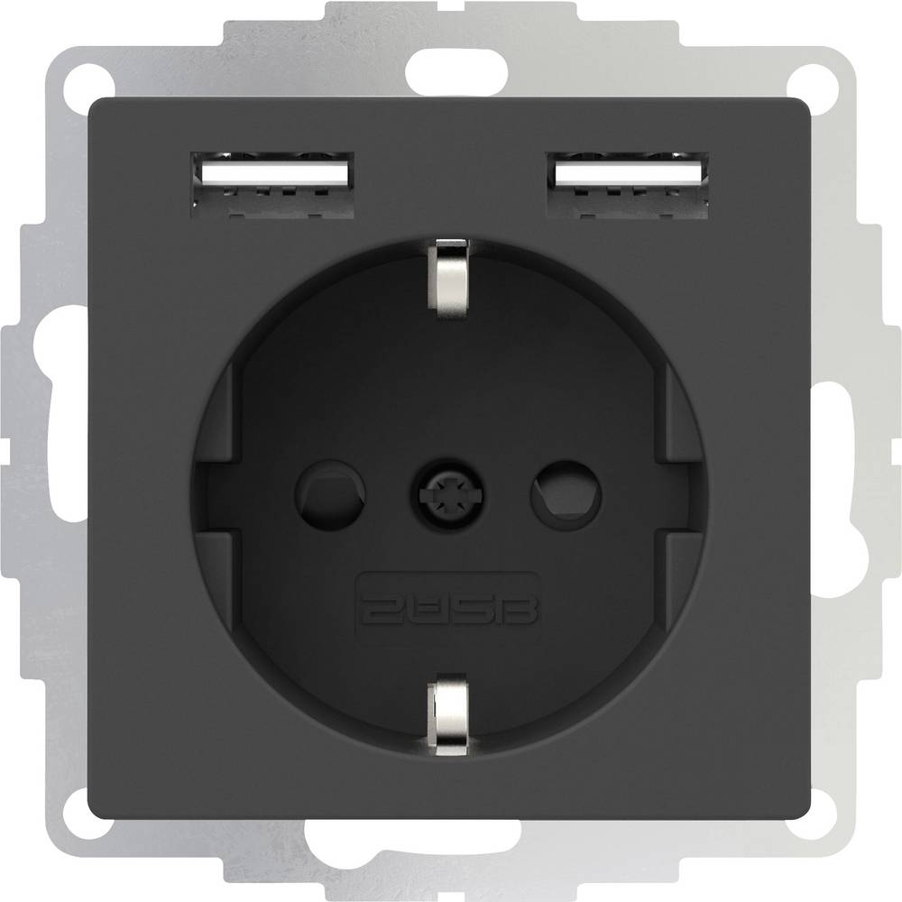 2USB 2U-449351 podometna vtičnica vde, z USB, otroška zaščita ip20 antracitna