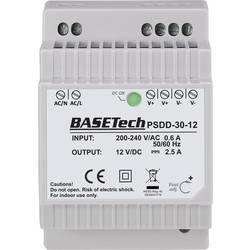 Basetech PSDD-30-12 DIN-napajanje (DIN-letva) 12 V 2.5 A 30 W 2 x