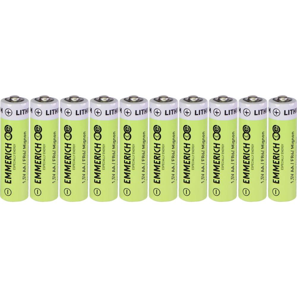 Mignon (AA) baterija Litijev Emmerich Industrial FR6 2900 mAh 1.5 V 10 ST