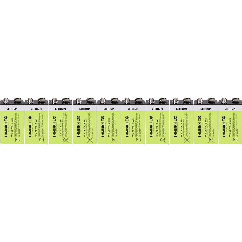9 V block baterija Litijev Emmerich Industrial 6LR61 800 mAh 9 V 10 ST