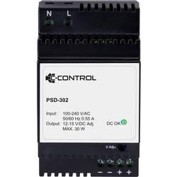 C-Control PSD-302 napajanje za din-letev Poraba (stanje pripravljenosti) 0.3 W 12 V/DC 2.5 A 30 W 1 x