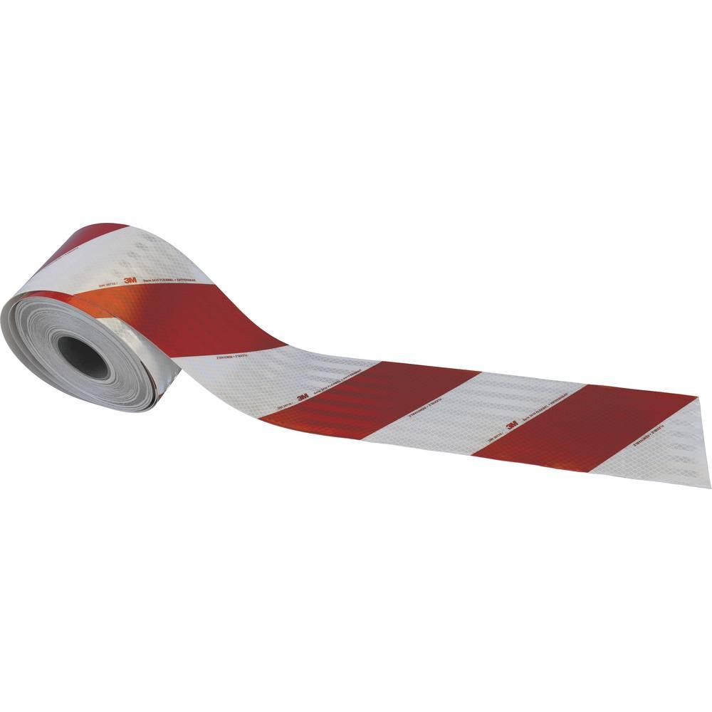 3M High Intensity Grade 3410 3410R141 Bela (odsevna), Rdeča (odsevna) (D x Š) 45.7 m x 141 mm Desna nastavitev, Prilagodljiv, Mi