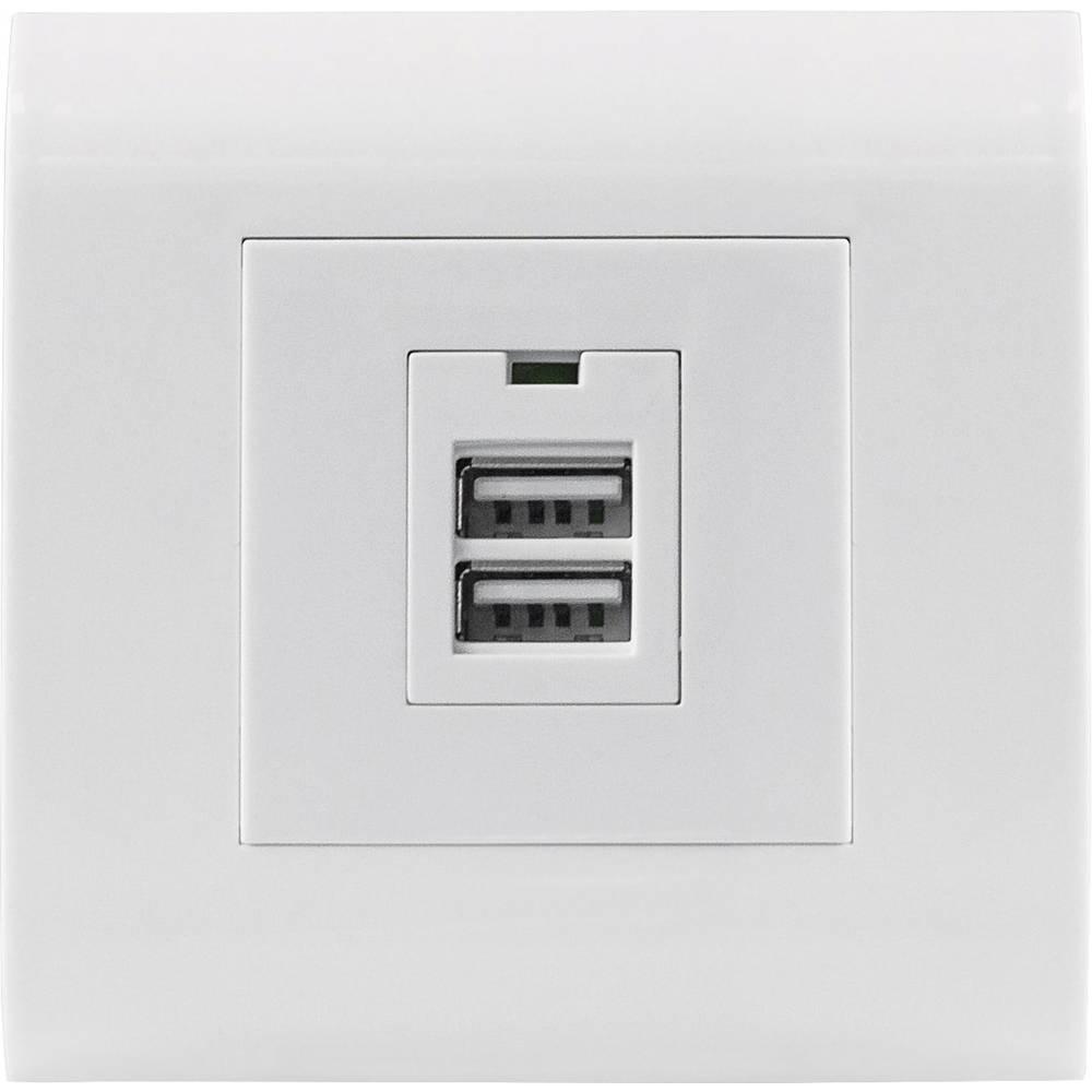 Podometna vtičnica Z USB Bela Intellinet 772181