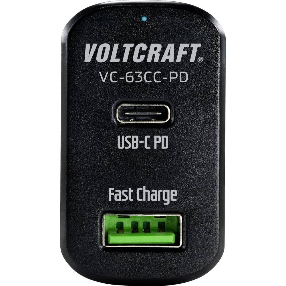VOLTCRAFT VC-63CC-PD osebno vozilo USB napajalnik Izhodni tok maks. 3 A 2 x USB, ženski konektor USB-C™ USB power delivery