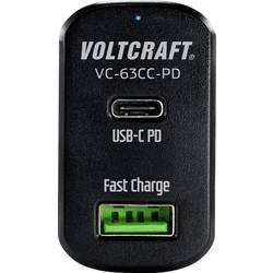 VOLTCRAFT CAS-63 VC-63CC-PD USB napajalnik osebno vozilo Izhodni tok maks. 3 A 2 x USB, ženski konektor USB-C™ USB power d