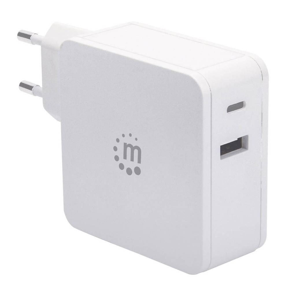 Manhattan 180146 USB napajalnik vtičnica Izhodni tok maks. 3 A 2 x ženski konektor USB 2.0 tipa a, ženski konektor USB-C™