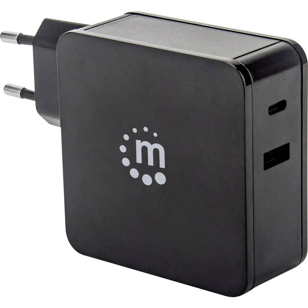 Manhattan 180054 USB napajalnik Vtičnica Izhodni tok maks. 3 A 2 x Ženski konektor USB 2.0 tipa A, Ženski konektor USB-C™