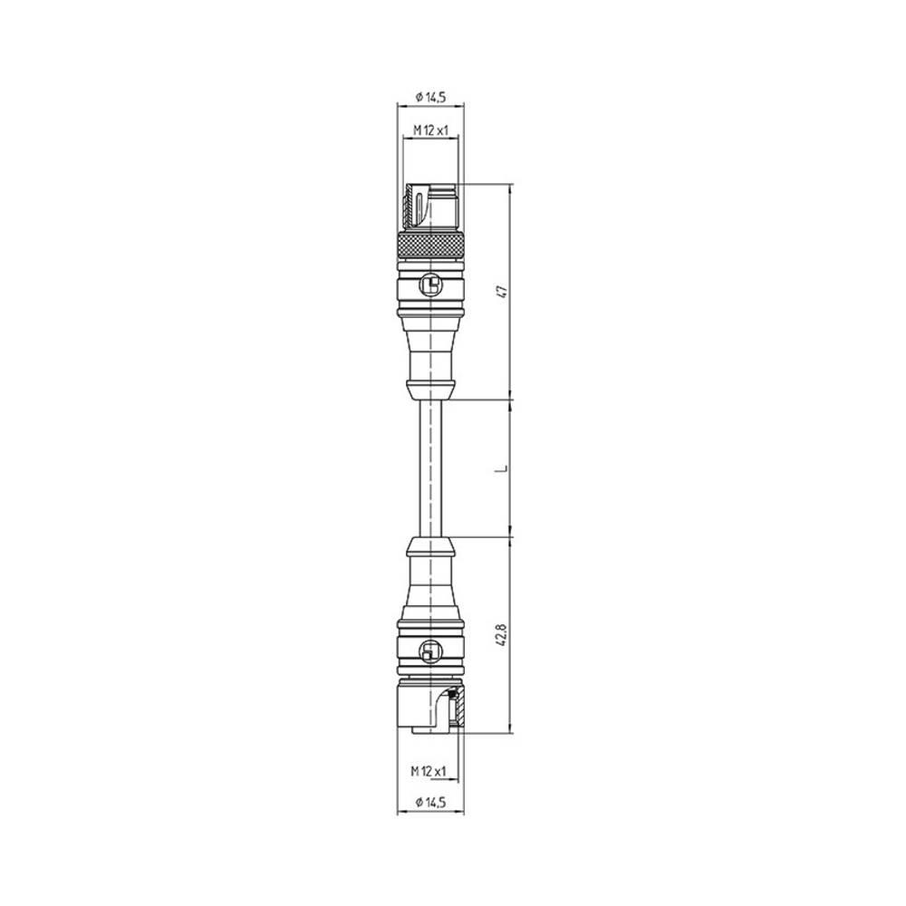 Priključni kabel za senzor/aktuator M12 Ravni moški konektor 0.60 m Število polov: 4 Lutronic 1092 1210 1200 04 301 0,6m 1 KOS