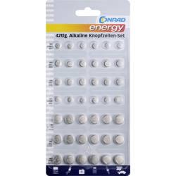 Conrad energy Button cell set 6 x AG1, 12 x AG3, 6 x AG4, 9 x AG10, 3 x AG12, 6 x AG13
