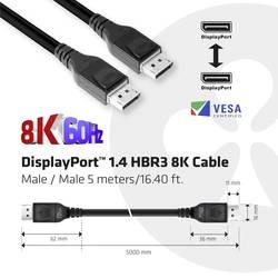 club3D displayport priključni kabel 5.00 m crna [1x muški konektor displayport - 1x muški konektor displayport]