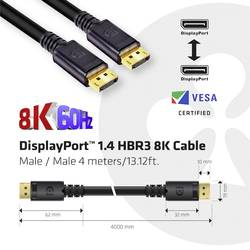 club3D displayport priključni kabel 4.00 m crna [1x muški konektor displayport - 1x muški konektor displayport]