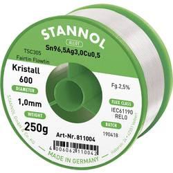 Stannol Kristall 600 Fairtin Spajkalna žica, neosvinčena Neosvinčeni Sn3.0Ag0.5Cu 250 g 1.0 mm