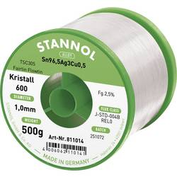 Stannol Kristall 600 Fairtin Spajkalna žica, neosvinčena Neosvinčeni Sn3.0Ag0.5Cu 500 g 1.0 mm