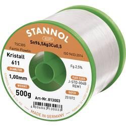 Stannol Kristall 611 Fairtin Spajkalna žica, neosvinčena Neosvinčeni Sn3.0Ag0.5Cu 500 g 1.0 mm