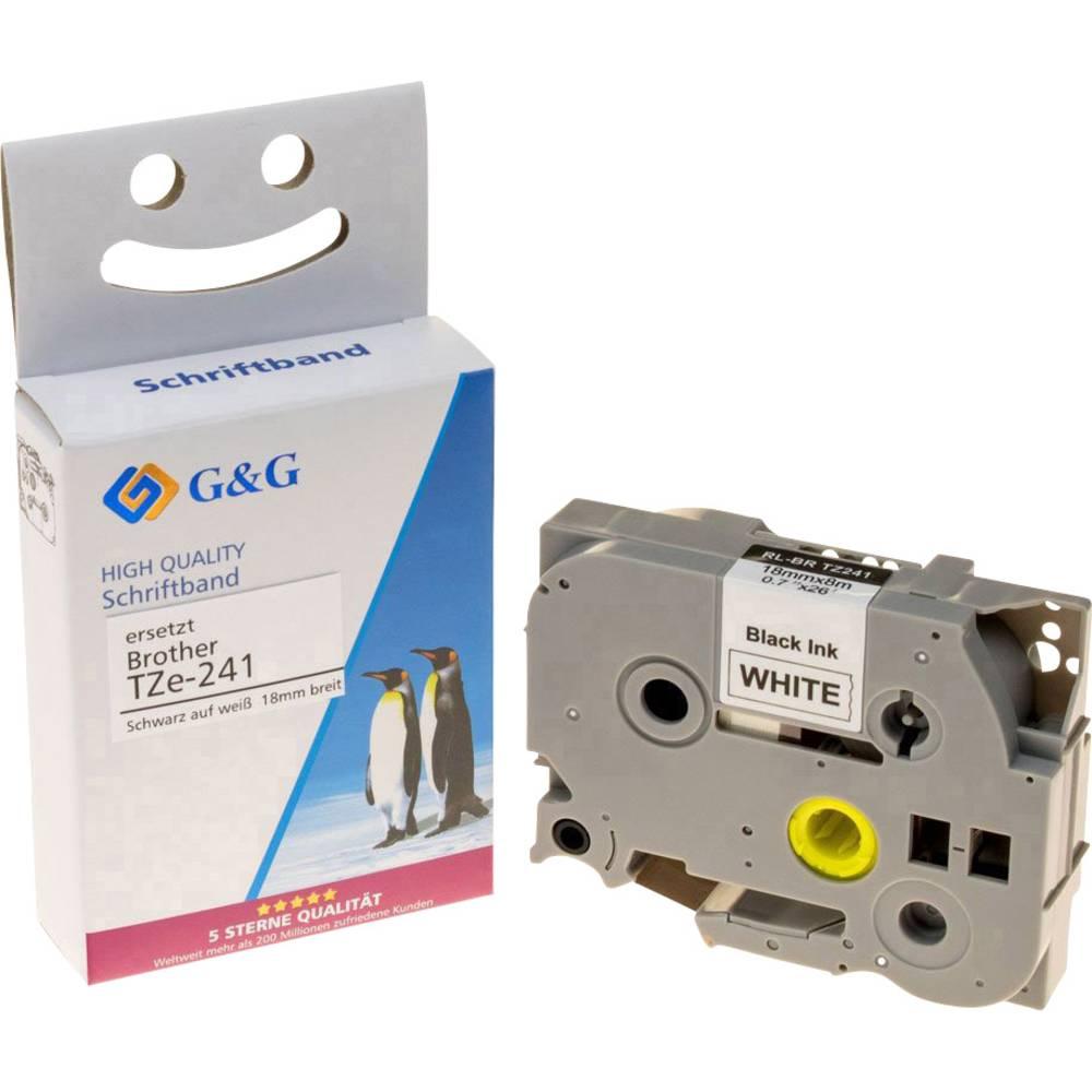 pisalni trak G&G 14954 kompatibilnost zamenjava Brother TZe-241 Barva traku: bela Barva pisave: črna 18 mm 8 m