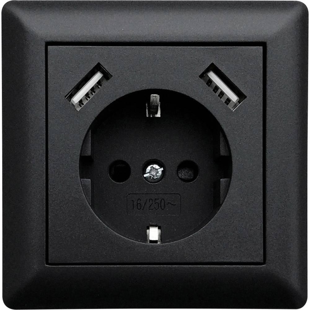 LEDmaxx USB1002 1 kratni podometna vtičnica z USB črna
