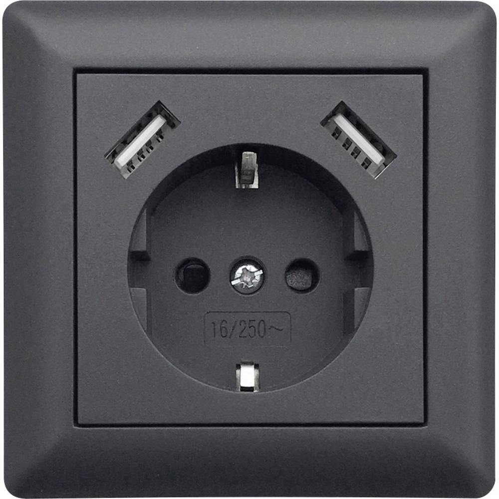 LEDmaxx USB1003 1 kratni podometna vtičnica z USB, otroška zaščita antracitna