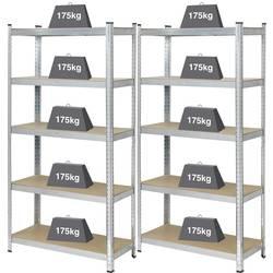 Basetech BT-1897698 regal za velike težine 175 kg (Š x V x d) 900 x 1800 x 400 mm metal, mdf pocinčana drveni pod