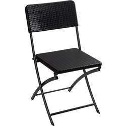 Kamp stolica Perel folding chair rattan Crna FP165R
