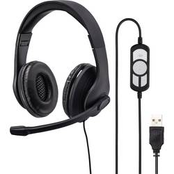 pc naglavne slušalice sa mikrofonom usb sa vrpcom, stereo Hama na ušima crna