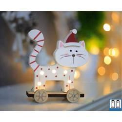 Mačka (stoječa) Topla bela LED Hellum 524192 Pisana