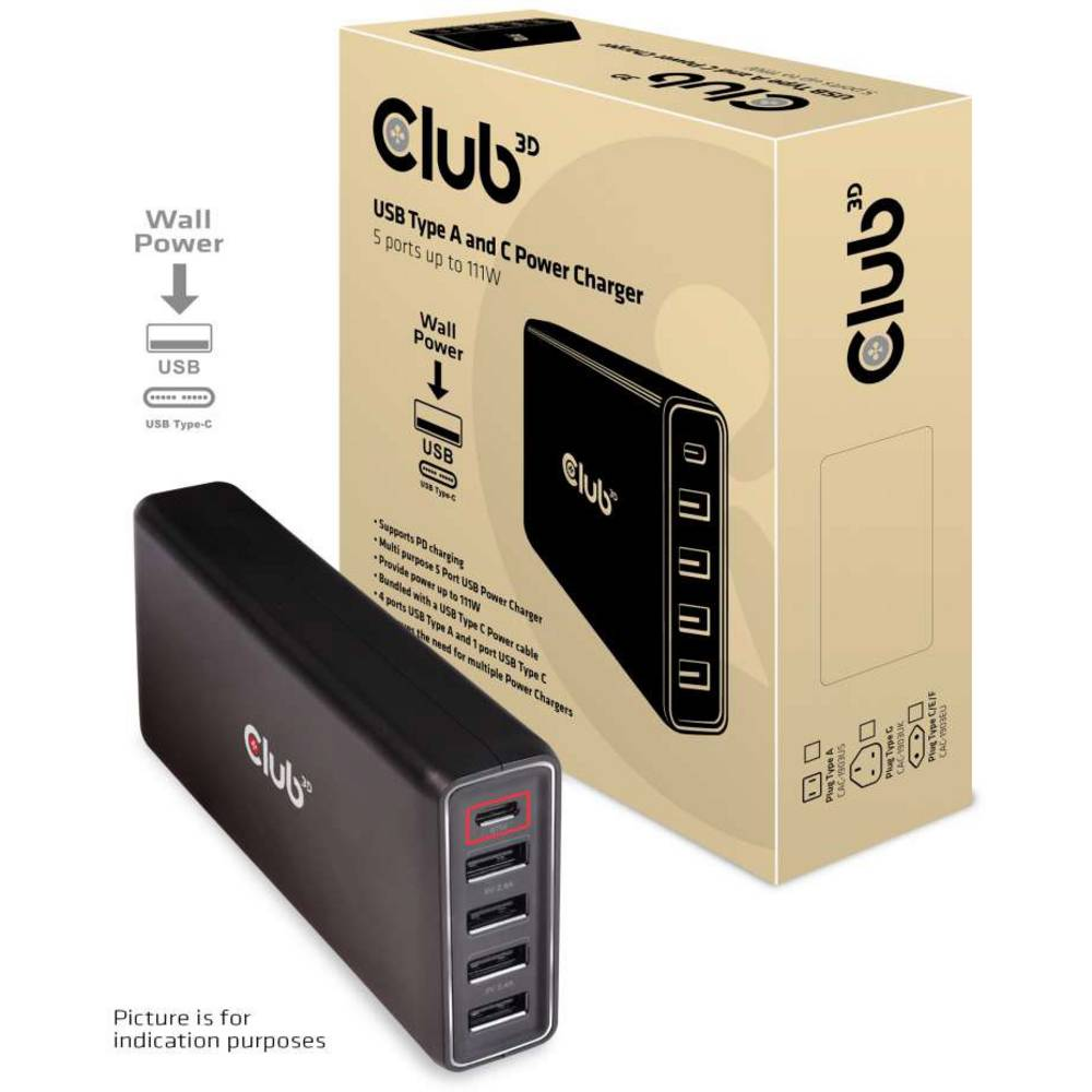 club3D CAC-1903EU USB polnilna postaja vtičnica ženski konektor USB-C™, ženski konektor USB 2.0 tipa a