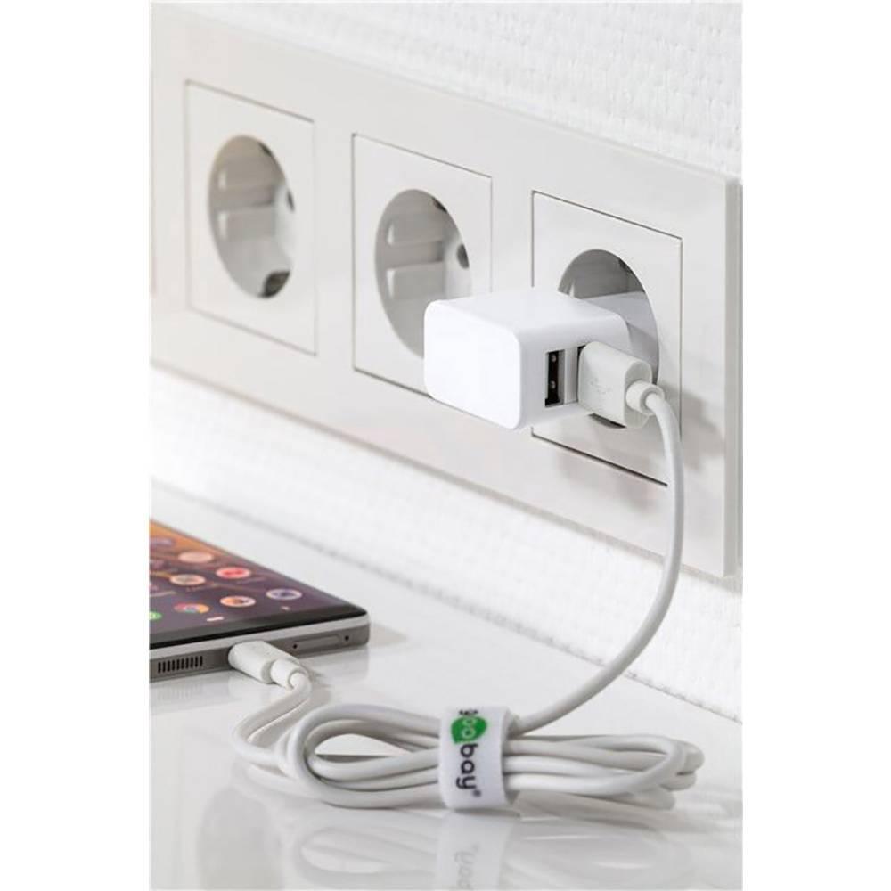Goobay 44952 USB napajalnik vtičnica Izhodni tok maks. 2.4 A 2 x ženski konektor USB 2.0 tipa a